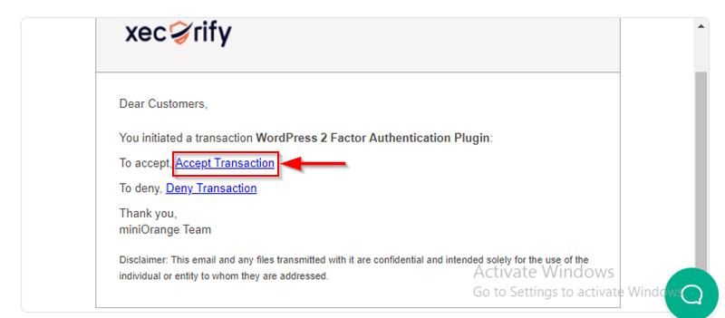 Accept transaction request
