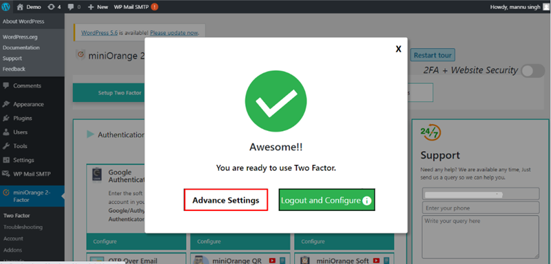 setting two-factor with advanced setting