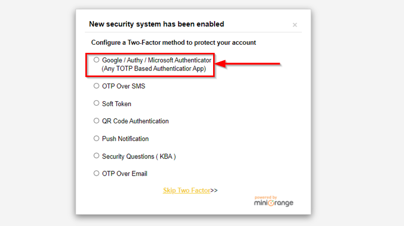 Logout and configure two factor
