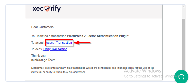 accept email transaction request