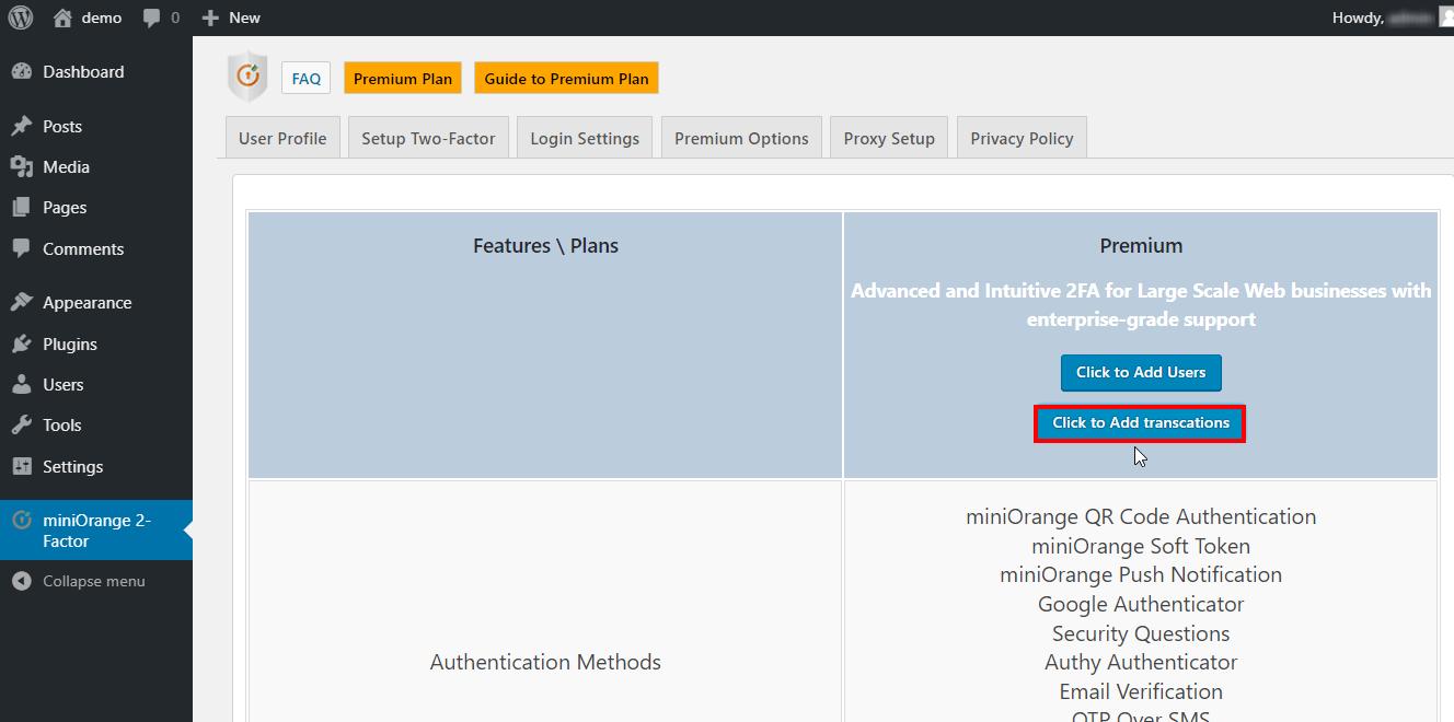miniOrange-2-Factor-WordPress add tarnsaction