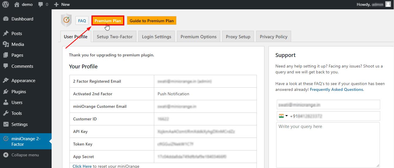 miniOrange-2-Factor-WordPress premium tab
