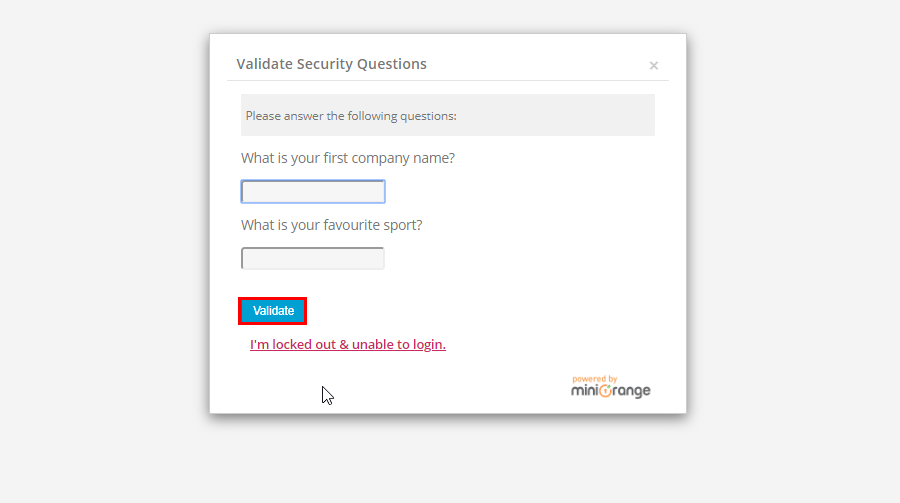 configure security question prompted