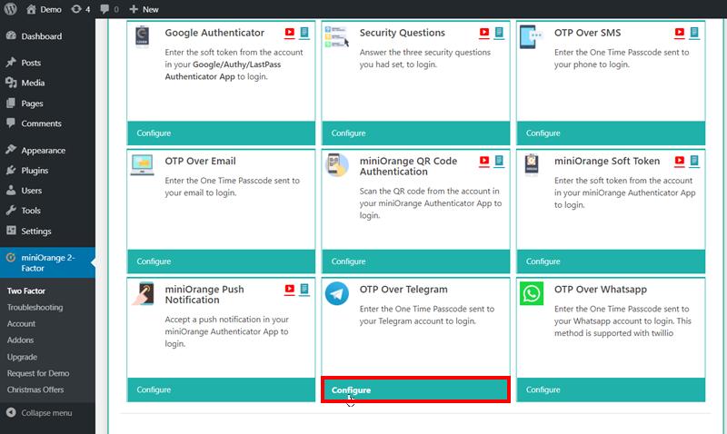 click on configure button of telegram
