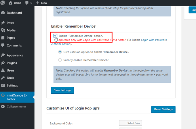 Enable remember device