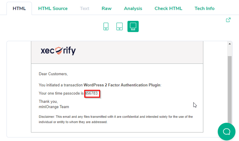 recieved otp on registered email address