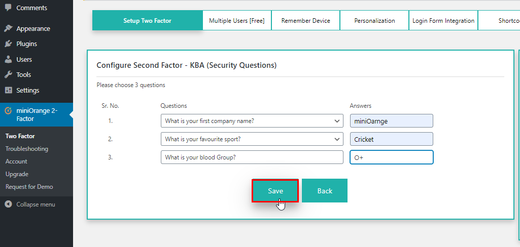 save configure security question