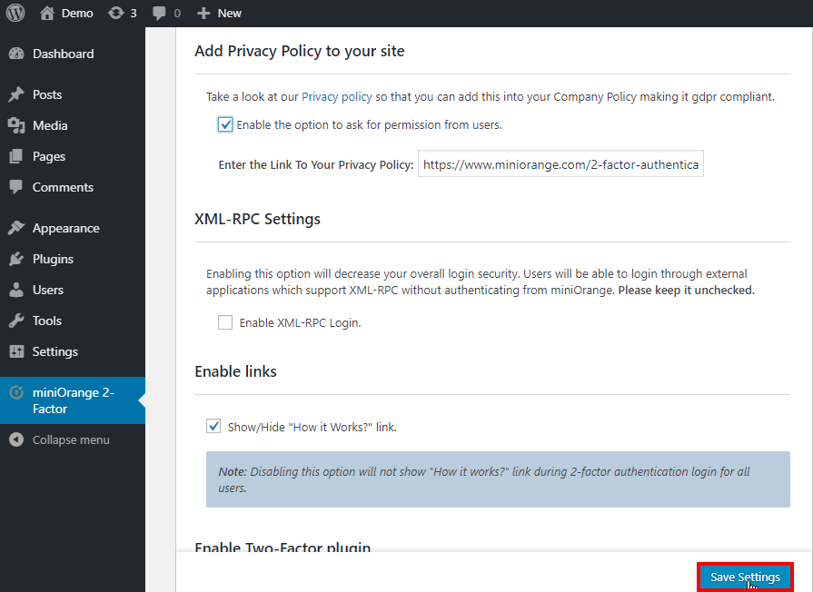 save privacy policy