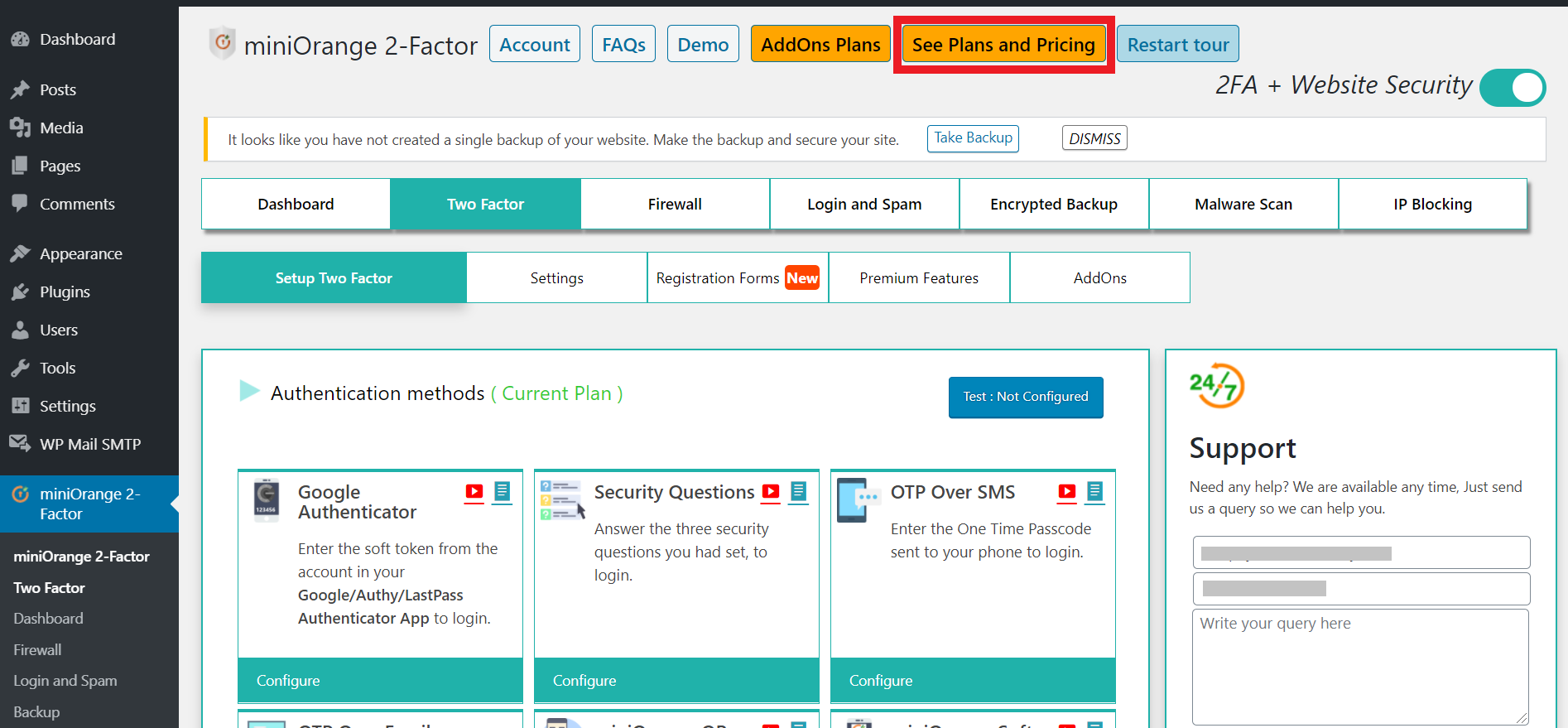 click over see plans and pricing button