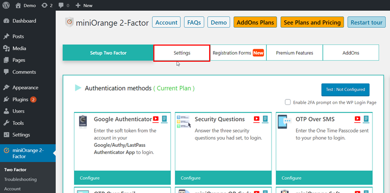 settings tab of two-factor authentication plugin