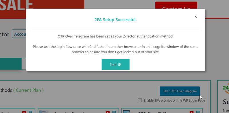 Telegram verification setup successfully