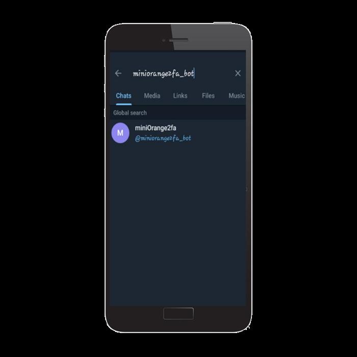 Search miniorange bot on telegram