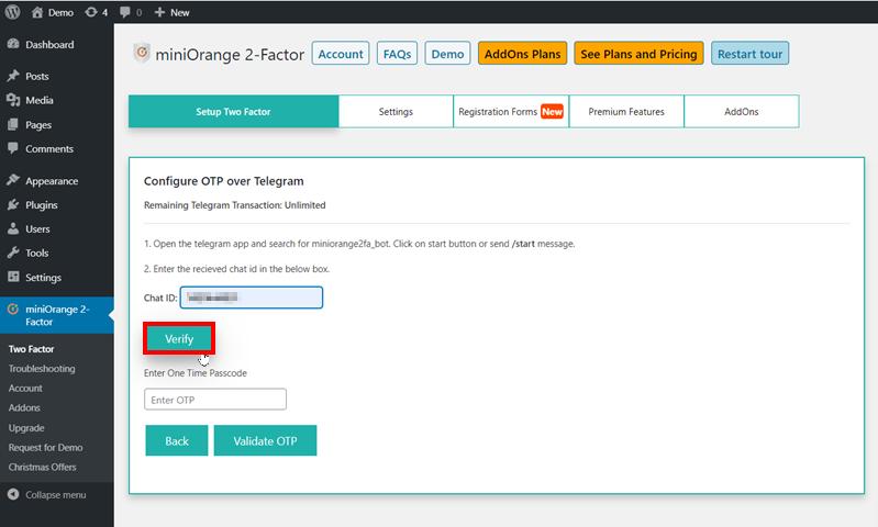 Verify chat id recieved on telegram