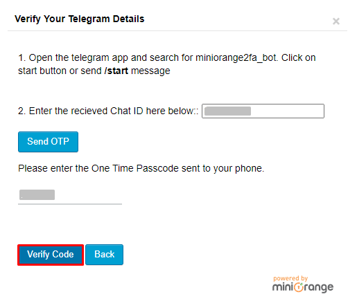 Enter OTP recieved on tlegram and click on Verify code