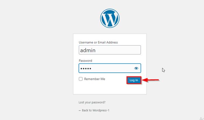 wordpress login button